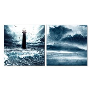 Lighthouse in storm Tablou, (100 x 50 cm)