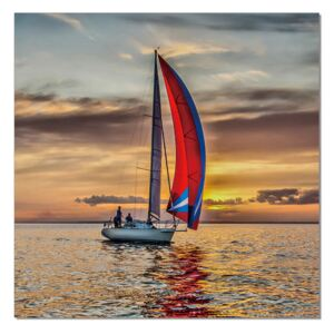 Sailing boat at sea Tablou, (120 x 120 cm)