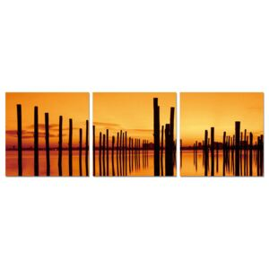 Golden sunset over pier Tablou, (120 x 40 cm)