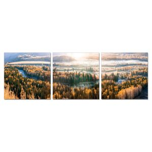 Sunset over forests Tablou, (150 x 50 cm)