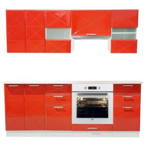 BUCATARIE BOSTON RED GLOSS 2M