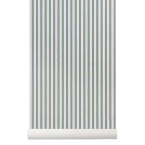 Rola tapet albastru 53x1000 cm Thin Lines Dusty Blue Off White Ferm Living