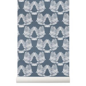 Rola tapet 53x1000 cm Birds Dark Green Off White Ferm Living