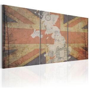 Tablou Bimago - Map of Great Britain (Vintage) 60x30