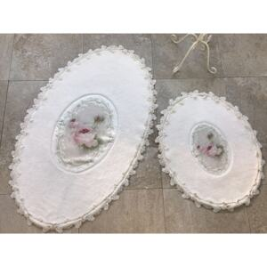 Set 2 Covorase de Baie - French Pearl Oval Ecru