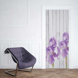 GLIX Tapet netesute pe usă - Wood Planks And Purple Flowers Vintage Chic