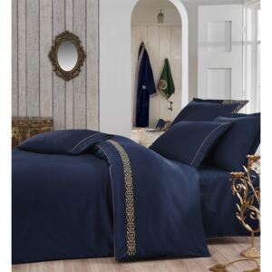 Exclusive Lenjerie de Pat Organic Bumbac Satin Double - Sehzade Navy Blue