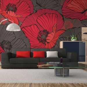 Fototapet Bimago - Pleated Poppies + Adeziv gratuit 450x270 cm