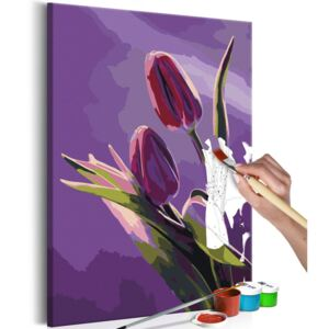 Bimago Pictura pe numere - Tulips (Purple Background)