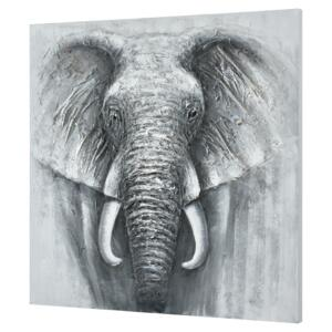 [art.work] Tablou pictat manual - elefant Model 64 - panza in, cu rama ascunsa - 100x100x3,8cm