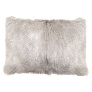 Perna decorativa dreptunghiulara gri deschis din blana si poliester 30x50 cm Goat Fur LifeStyle Home Collection