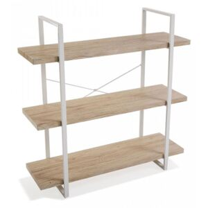 Etajera maro/alba din metal si lemn 104 cm Wooden Shelf Three Versa Home