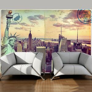 Fototapet Bimago - Postcard from New York + Adeziv gratuit 100x70 cm