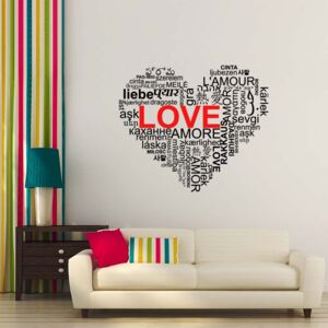 GLIX Heart from inscriptions - autocolant de perete Rosu deschis 90 x 75 cm