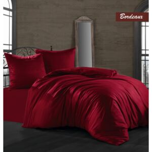 Lenjerie de pat satin de lux, 6 piese, Class Home Collection, Bordo