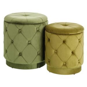 Set 2 pufi cu capac din textil verde Puff Chest Green