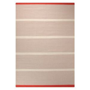 Covor Modern & Geometric Simple Stripe, Lana, Bej/Rosu, 60x110