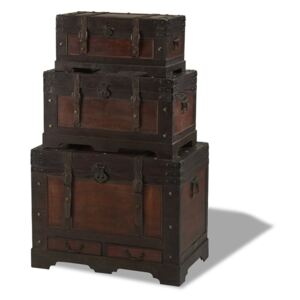 Set 3 cutii din lemn decorative Knuds Trunks Medieval