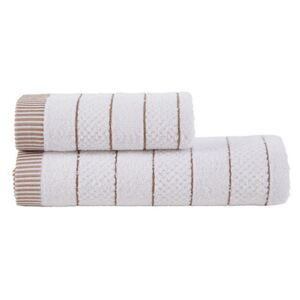 Set 2 prosoape bumbac 100%, 50x90cm si 70x140cm Class Home Collection, Alb/Maro