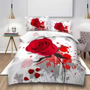 Lenjerie de pat Digital Print Red Rose V8