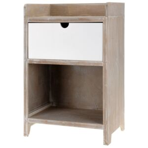 Comoda cu un sertar Home Styling Collection, MDF, Alb/Maro
