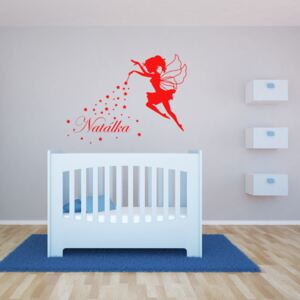 GLIX Magic Fairy - autocolant de perete Rosu deschis 90 x 70 cm