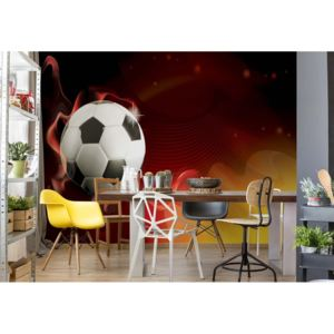 Fototapet - 3D Football Red And Yellow Vliesová tapeta - 250x104 cm