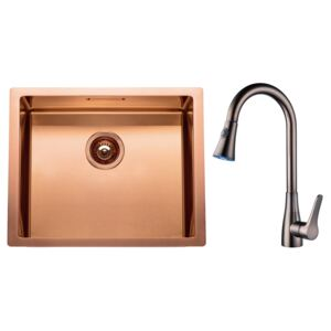 Chiuveta bucatarie inox CookingAid BOX LUX 50 COPPER cu strat PVD ceramic cupru + baterie CookingAid Dark Copper