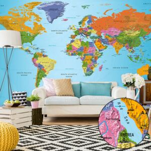 Fototapet Bimago - World Map: Colourful Geography II + Adeziv gratuit 500x280 cm
