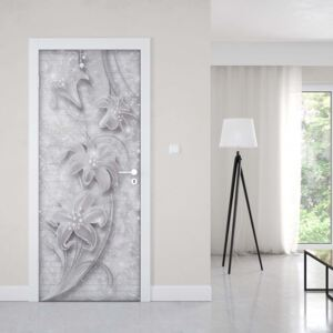 GLIX Tapet netesute pe usă - 3D Ornamental Floral Design Grey And White