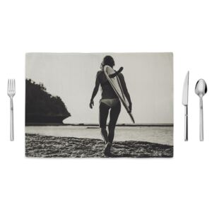 Suport farfurie Home de Bleu Tropical Surf, 35 x 49 cm, alb negru