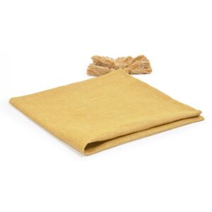 Pled galben mustar din bumbac si in 55x55 cm Eirenne Kave Home