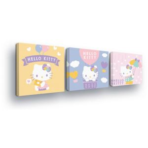 GLIX Tablou - Hello Kitty in the Pastelova Barva Trio 3 x 25x25 cm