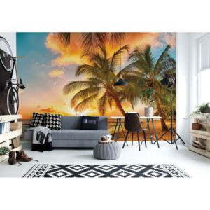 Fototapet GLIX - Tropical Beach Sunset Palm Trees + adeziv GRATUIT Tapet nețesute - 250x104 cm