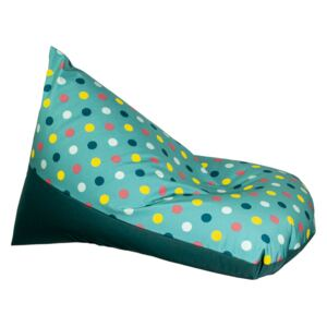 Puf bean bag dots turcoaz impermeabil