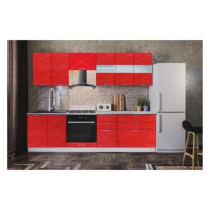 BUCATARIE BOSTON RED GLOSS 2.6 M