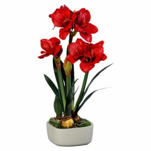 Floare artificială Amaryllis cu aspect 100% natural, 66 cm