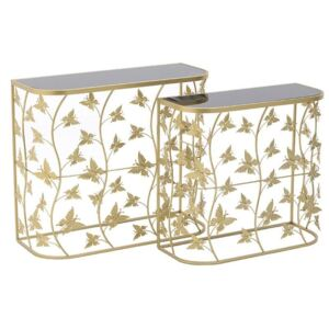 Set 2 console Golden Butterflies
