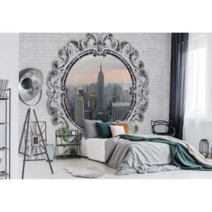 Fototapet GLIX - New York City Skyline Circular Window + adeziv GRATUIT Tapet nețesute - 416x254 cm
