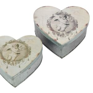 Set 2 recipiente metalice Antic Line Heart Box