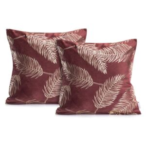 Set 2 fețe de pernă DecoKing Golden Leafes Burgundy, 45 x 45 cm, vișiniu