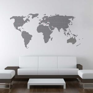GLIX World map from dots - autocolant de perete Negru 200 x 100 cm