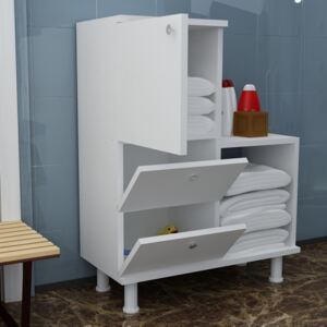 Mobilier baie cu 4 spatii depozitare Functional Homs , 67.4 x 87 x 29.5 cm, alb