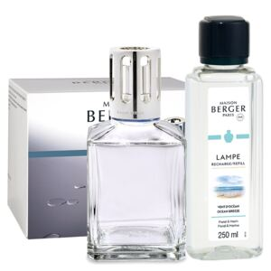 Set Berger lampa catalitica Essentielle Caree cu parfum Vent d'Ocean si So Neutral