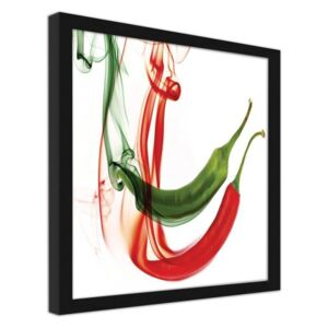 CARO Imagine în cadru - Abstract Chilli Peppers Negru 20x20 cm