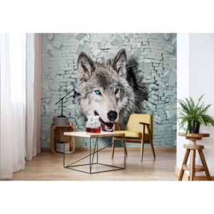 Fototapet GLIX - Wolf 3D Bursting Through Brick Wall + adeziv GRATUIT Tapet nețesute - 416x254 cm