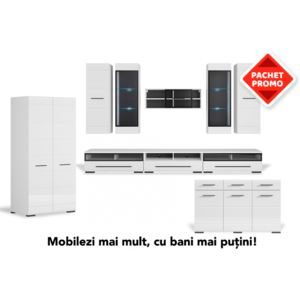 Pachet promo living + dulap + comoda FEVER 1, alb lucios, structura din pal si front din MDF