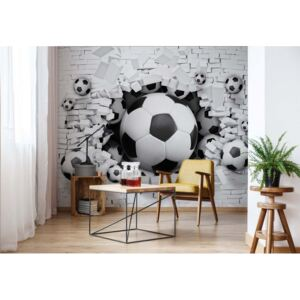 Fototapet GLIX - 3D Footballs Bursting Through Brick Wall + adeziv GRATUIT Tapet nețesute - 250x104 cm