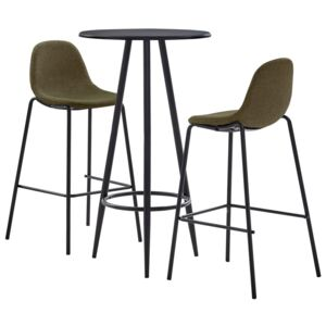 Set mobilier bar, 3 piese, maro, material textil
