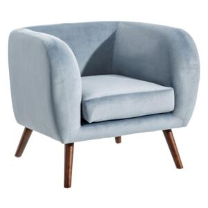 Fotoliu din catifea albastru deschis Armchair Light Blue Velvet Fabric/Wood